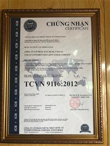 Giấy chứng nhận sản phẩm cống hộp bê tông đúc sẵn - Bê tông Tâm An phù hợp tiêu chuẩn TCVN 9116:2012